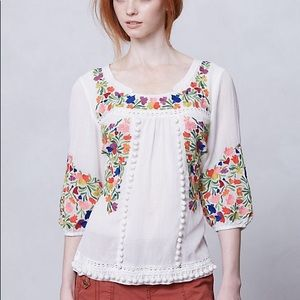 Anthropologie Vanessa Virginia Embroidered Top